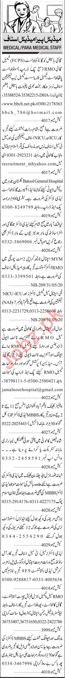 Jang Sunday Classified Ads 31st May 2020 for Medical Staff