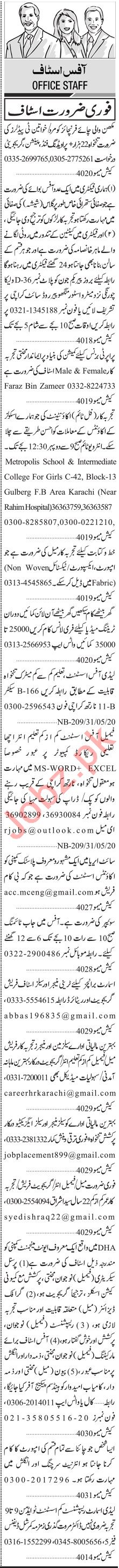 Jang Sunday Classified Ads 31st May 2020 for Office Staff