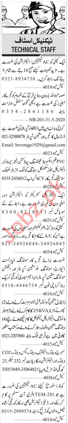 Jang Sunday Classified Ads 31st May 2020 for Technical Staff
