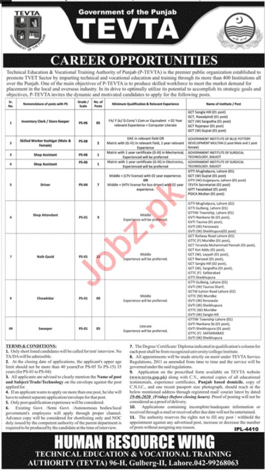 TEVTA Technical Education Punjab Jobs 2020
