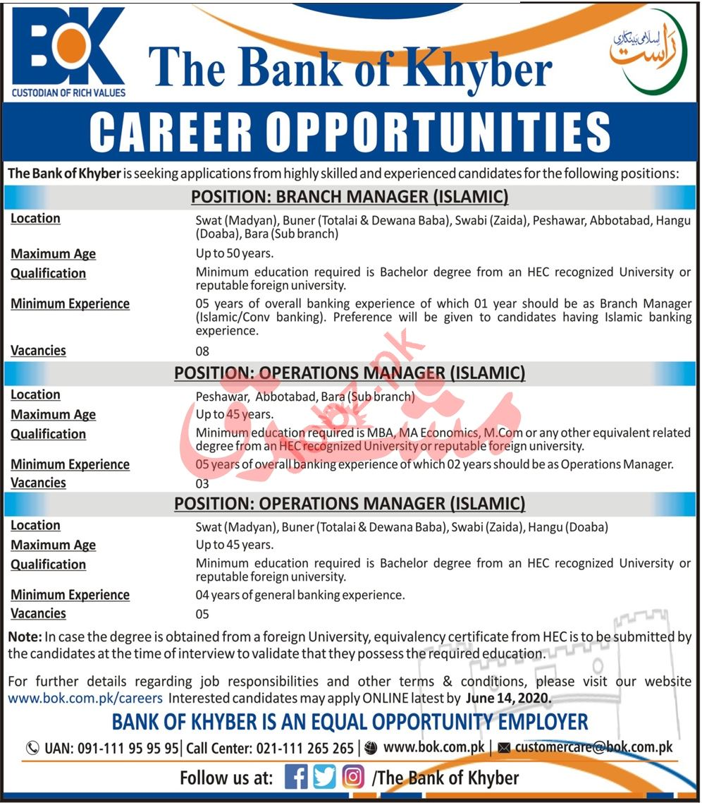 BOK Peshawar Jobs 2020 Branch Manager & Operations Manager