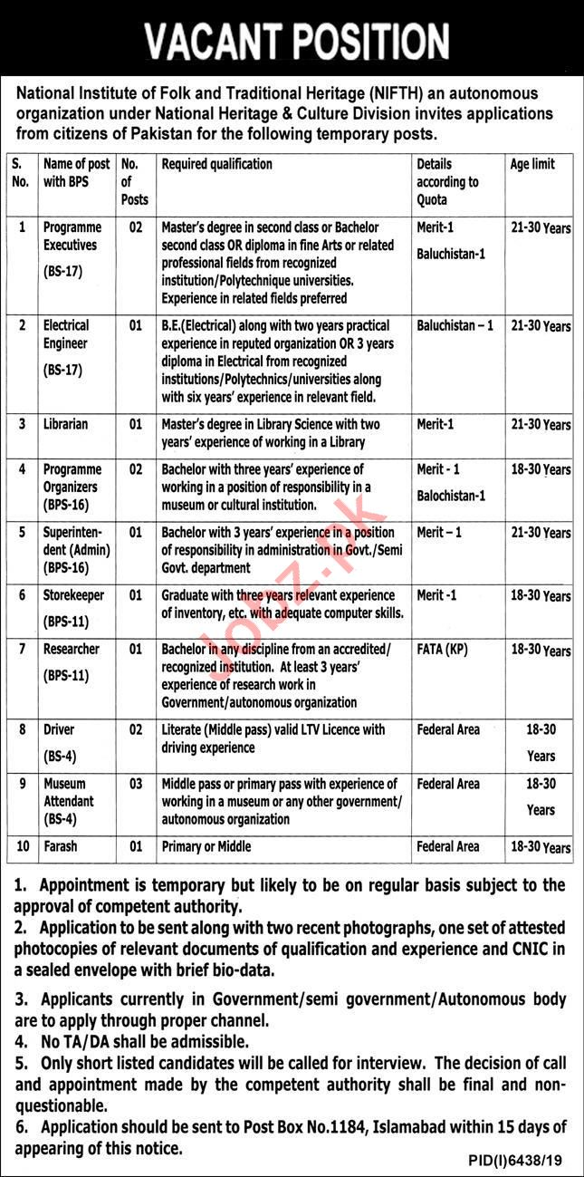 Lok Virsa NIFTH National Institute of Folk Islamabad Jobs