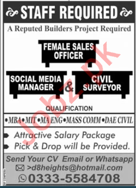 D8 Heights Islamabad Jobs 2020 for Female Sales Officer