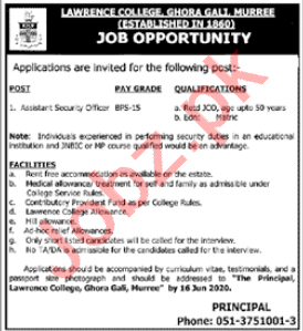 Lawrence College Ghora Gali Jobs for Asst Security Officer