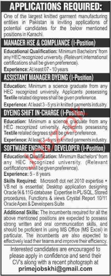Assistant Manager HSE & Compliance Jobs 2020 in Karachi