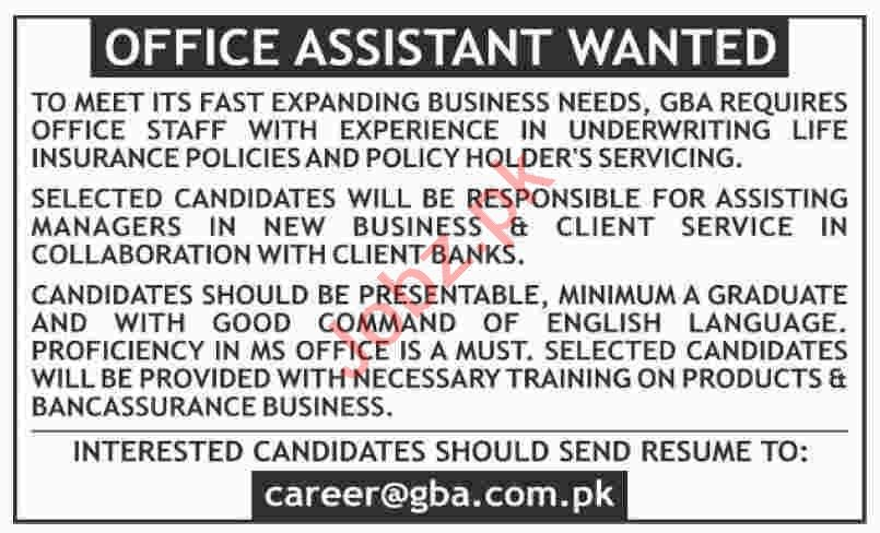 GBA Karachi Jobs 2020 for Office Assistant