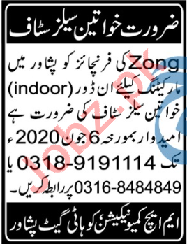 Zong Franchise Peshawar Jobs 2020 Sales & Marketing Staff