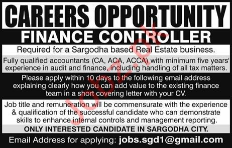 Finance Controller Jobs 2020 in Sargodha