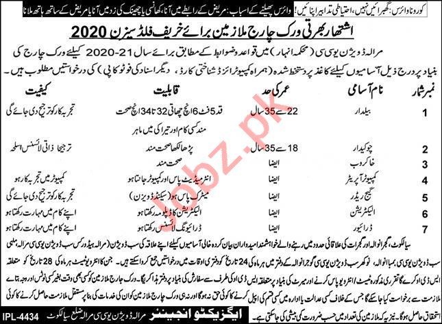 Marala Division UCC District Sialkot Jobs 2020
