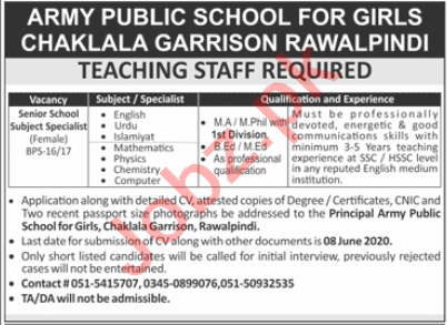 APS for Girls Chaklala Garrison Jobs 2020 Subject Specialist