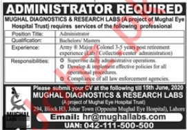 Mughal Diagnostics & Research Labs Lahore Jobs 2020