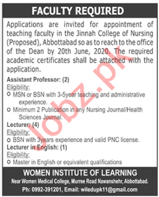 Women Institute of Learning Abbottabad Jobs 2020