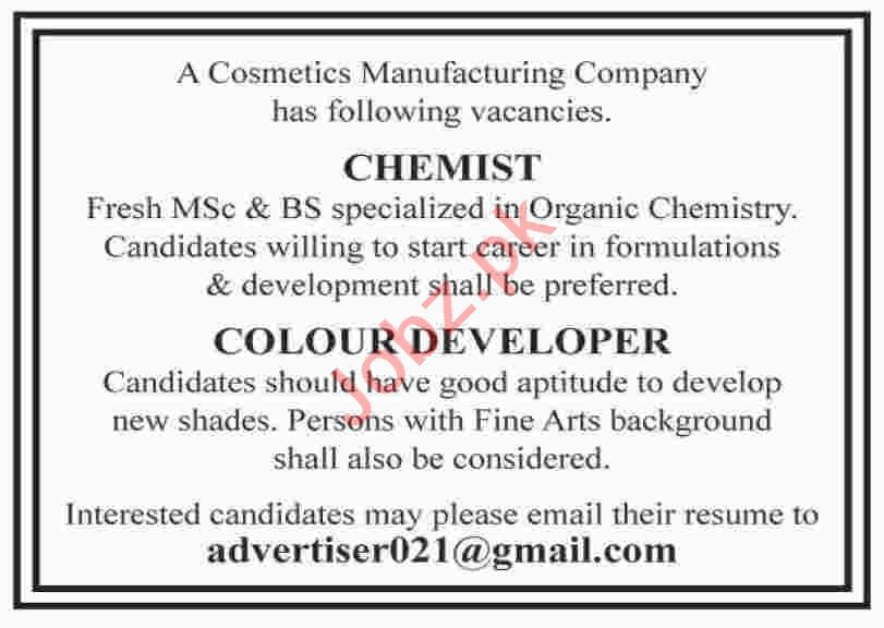 Colour Developer & Chemist Jobs 2020 in Karachi
