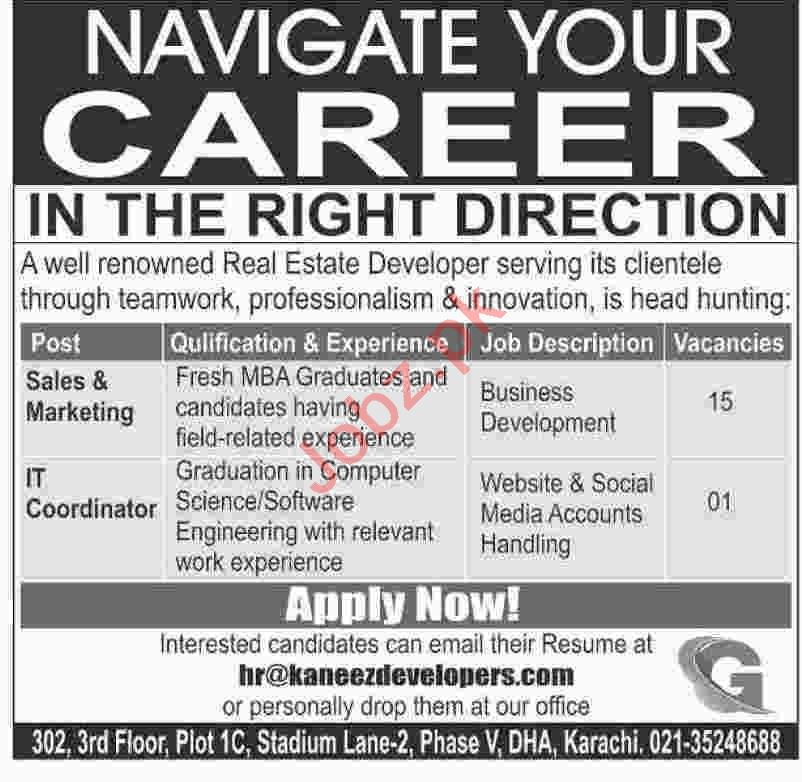 IT Coordinator & Marketing Manager Jobs 2020 in Karachi