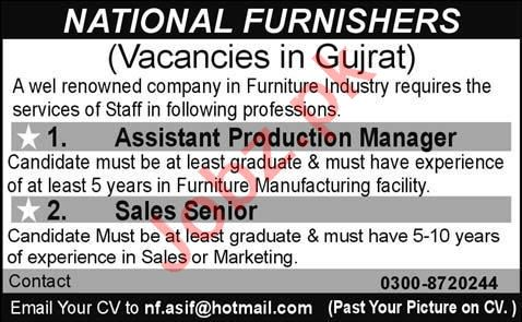 Assistant Production Manager & Sales Manager Jobs 2020
