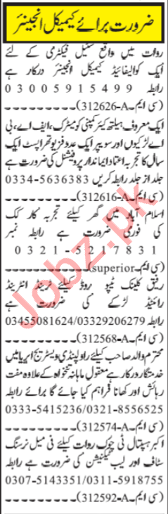 Chemical Engineer & Physiotherapist Jobs 2020 in Islamabad