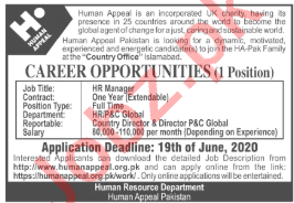 Human Appeal Pakistan NGO Jobs 2020 for HR Manager