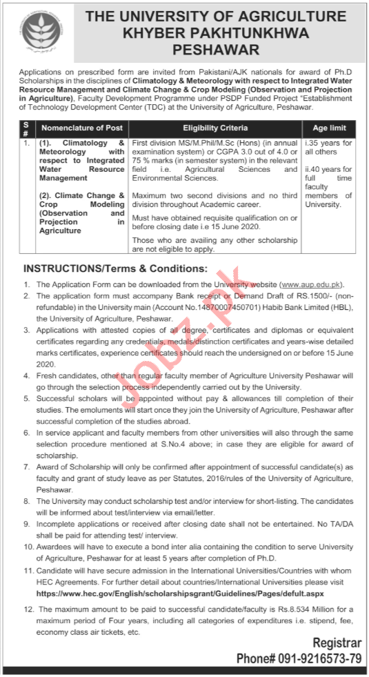 AUP University of Agriculture Peshawar Jobs 2020