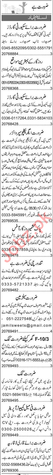Agriculture Supervisor & Security Guard Jobs 2020