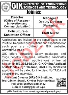GIK Institute Swabi Jobs 2020 for Director & Manager