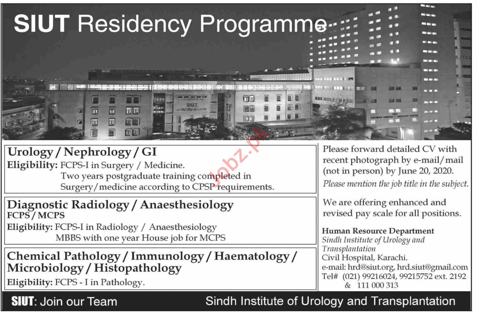 SIUT Karachi Jobs 2020 Urology Consultant & GI Consultant