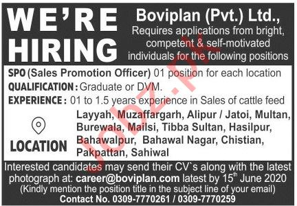 Boviplan Multan Jobs 2020 for Sales Promotion Officer