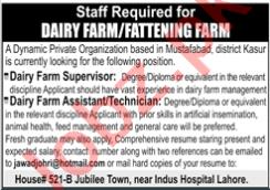 Dairy Farm Supervisor & Dairy Farm Assistant Jobs 2020