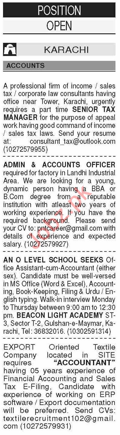 Dawn Sunday Classified Ads 7th June 2020 for Accounts Staff
