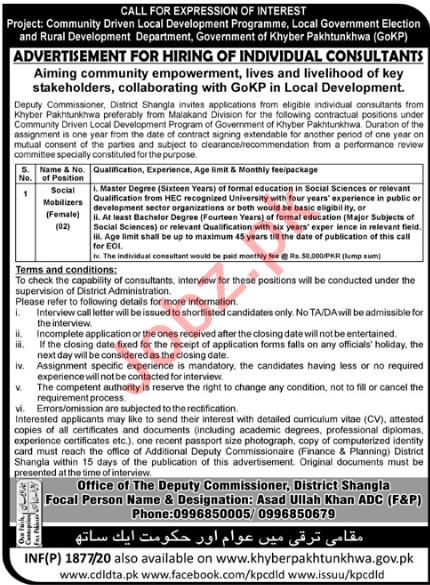 KP Community Driven Local Development Programme Jobs 2020