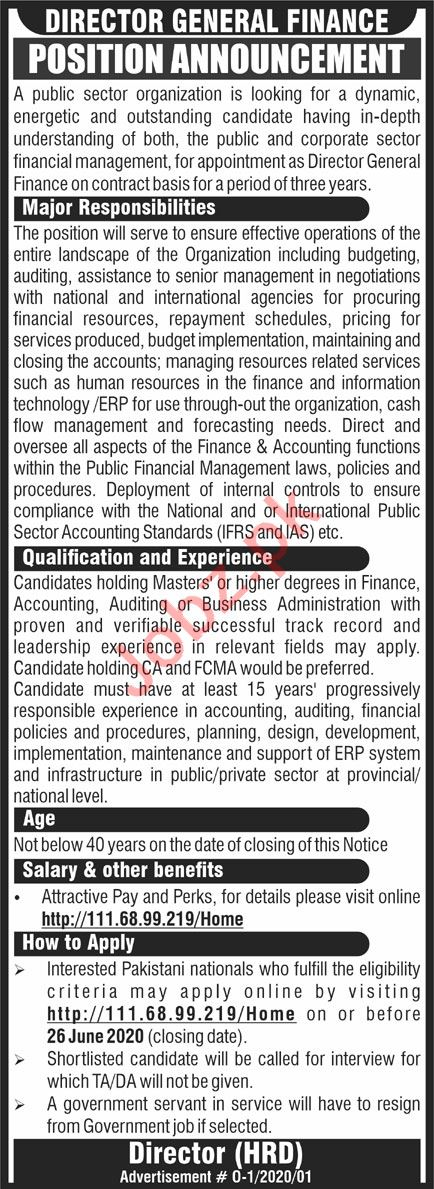 Director General Finance Jobs 2020 in Islamabad