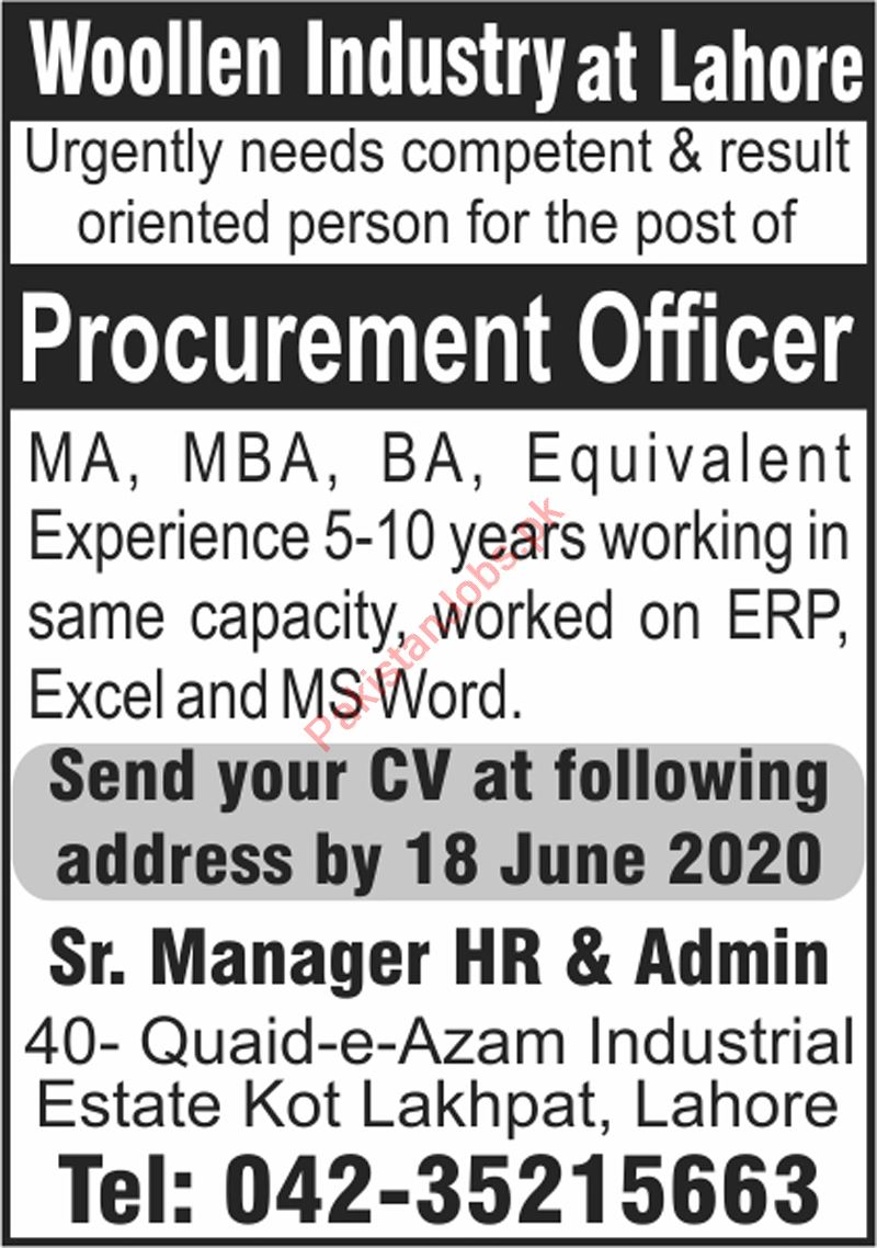 Procurement Officer Jobs 2020 in Woolen Industry