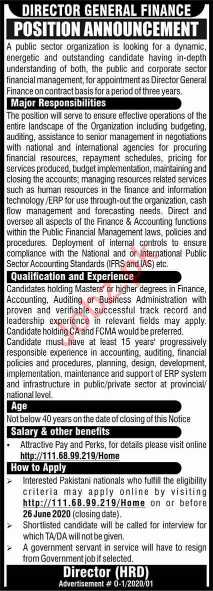 Public Sector Organization Islamabad Jobs Director General