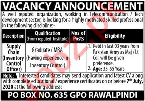 Public Sector Organization Management Posts Rawalpindi