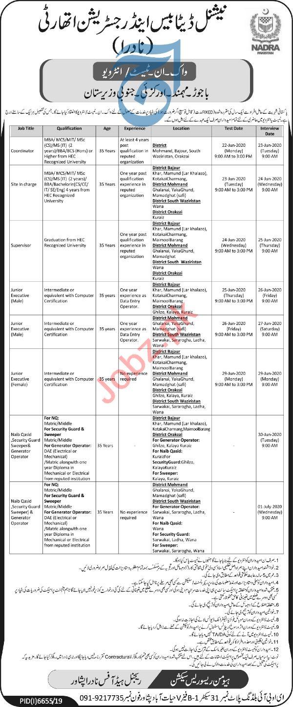 NADRA Regional Head Officer Peshawar Jobs Interview 2020