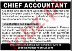 Siddiqsons Group Karachi Jobs 2020 for Chief Accountant