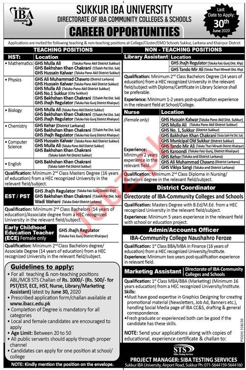 IBA Community Colleges & Schools Sindh Jobs 2020