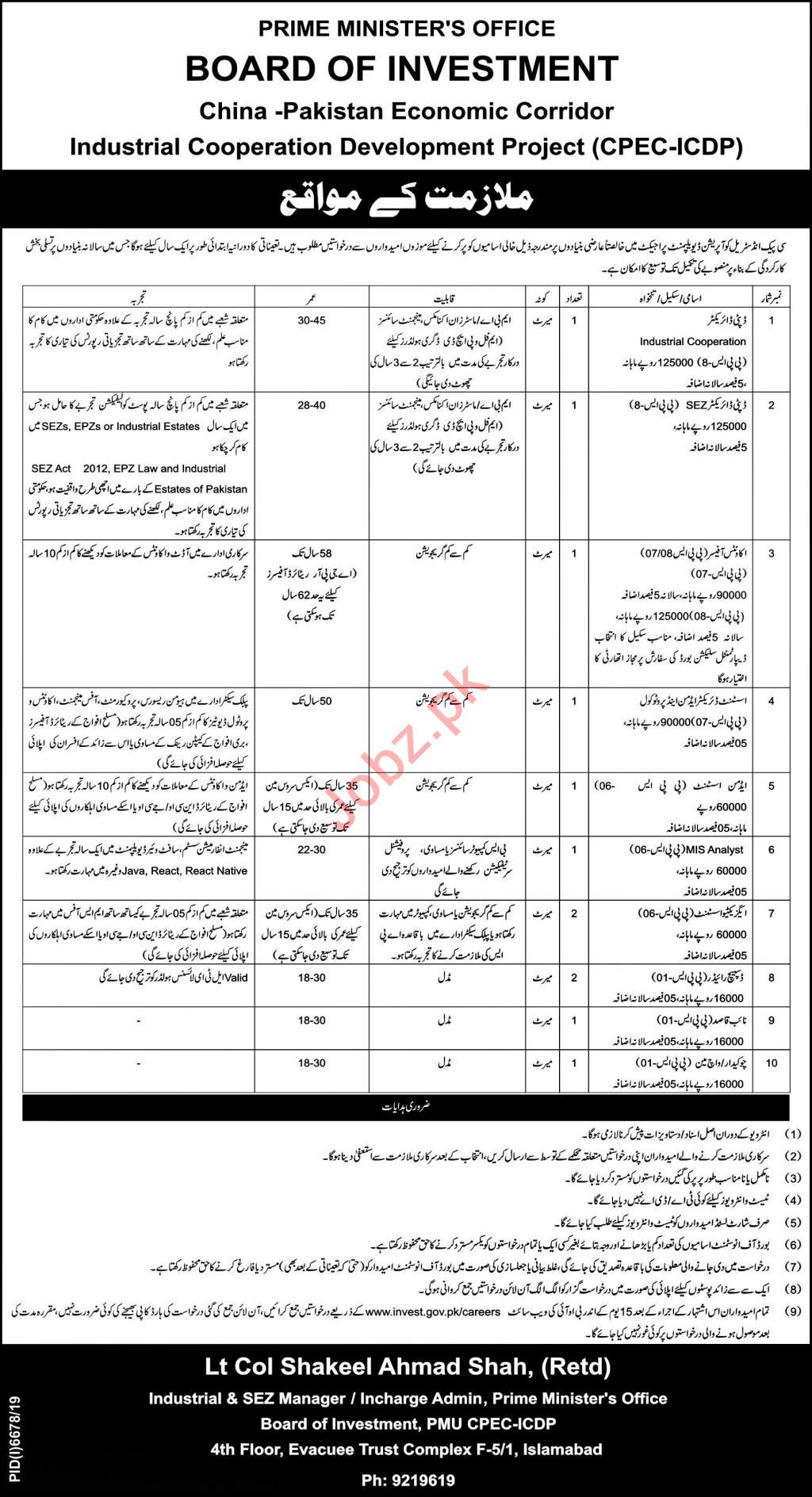 BOI Board of Investment CPEC ICDP Islamabad Jobs 2020