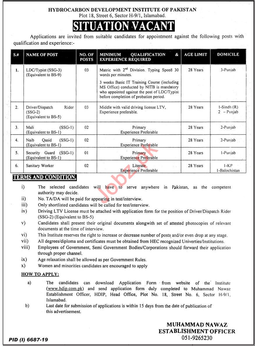 Hydrocarbon Development Institute of Pakistan HDIP Jobs 2020