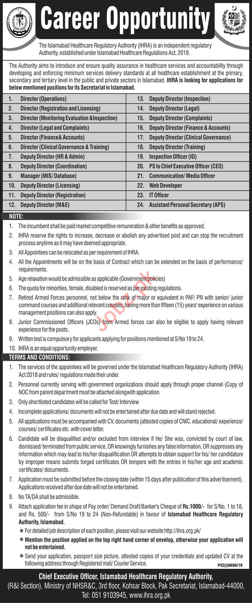 Islamabad Healthcare Regulatory Authority IHRA Jobs 2020