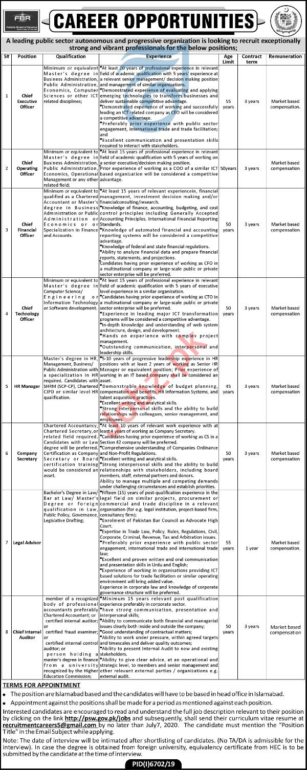 Federal Board of Revenue FBR Islamabad Jobs 2020