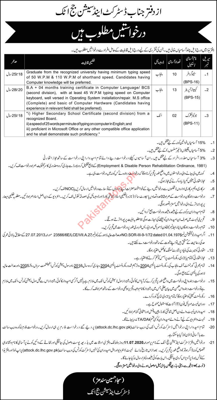 District & Session Court Attock Jobs 2020 for Stenographer