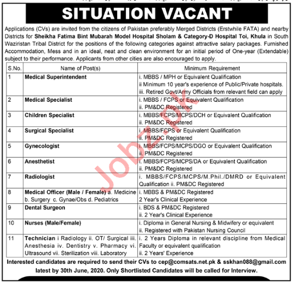 Sheikha Fatima Bint Mubarak Model Hospital Jobs 2020