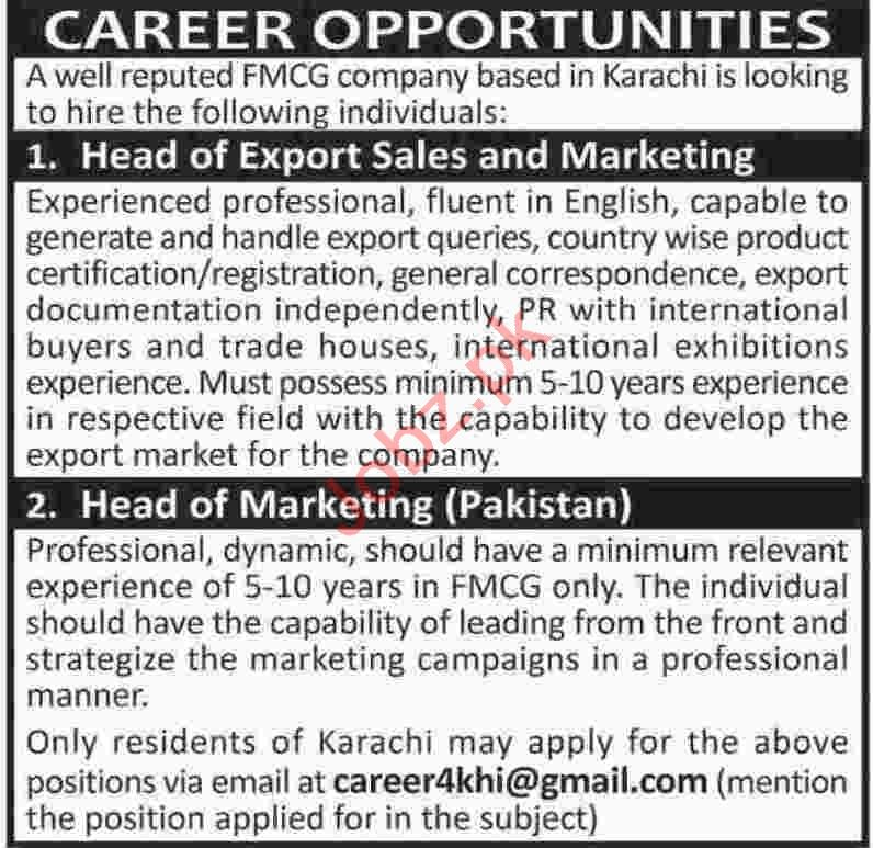 Head of Export Sales & Marketing Jobs 2020 in Karachi
