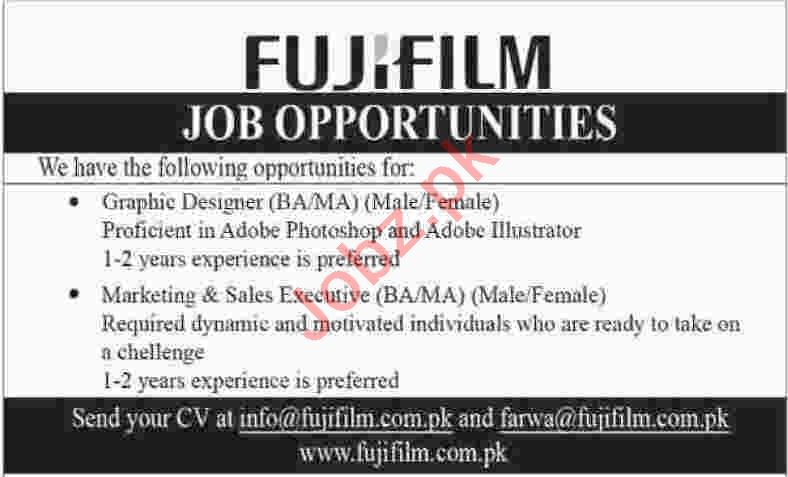 Fuji Film Pakistan Pvt Ltd Marketing Posts Karachi