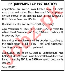 NBCD School Karachi Jobs 2020 for Civil Instructor