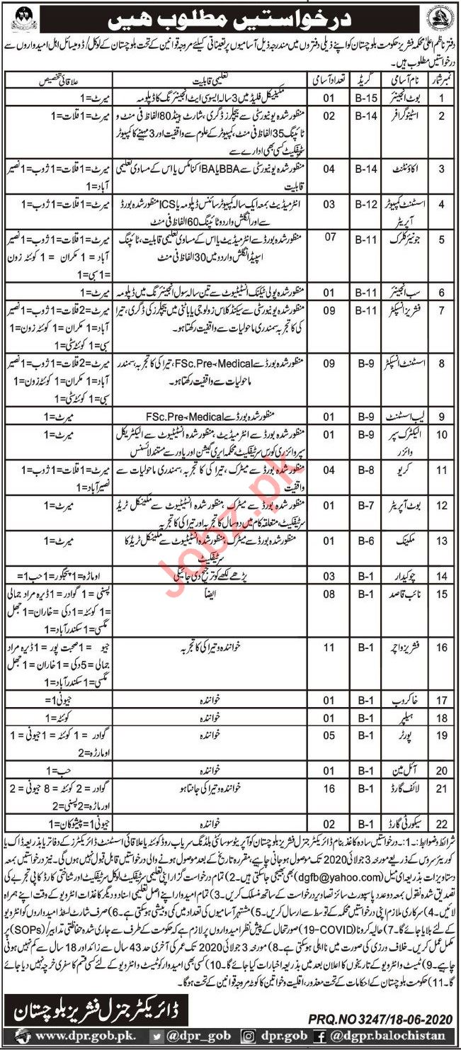 Fisheries Department Balochistan Jobs 2020 for Engineers
