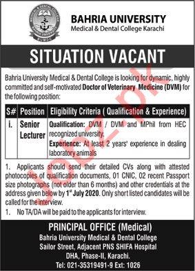 Bahria University Medical & Dental College BUMDC Jobs 2020