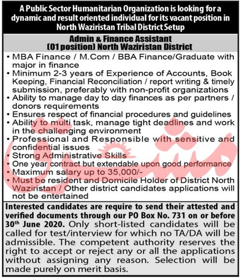 Admin & Finance Assistant Job 2020 in North Waziristan KPK