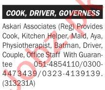 Askari Associates Rawalpindi Jobs for Driver & Cook