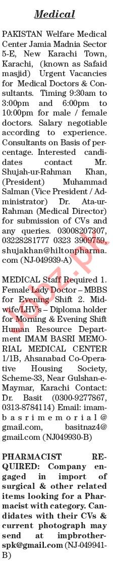 The News Sunday Classified Ads 21 June 2020 for Medical